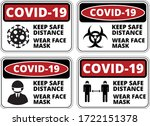 warning of covid 19 icons. keep ... | Shutterstock .eps vector #1722151378
