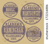Grunge rubber stamp set with names of Alabama cities, vector illustration