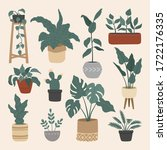 set of stylish house plants ... | Shutterstock .eps vector #1722176335