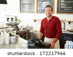 male owner of coffee shop  | Shutterstock . vector #172217966