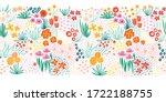 doodle flower meadow seamless... | Shutterstock .eps vector #1722188755