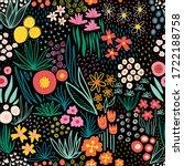 doodle flower meadow seamless... | Shutterstock .eps vector #1722188758