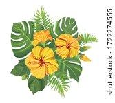 yellow tropical flowers bouquet....   Shutterstock .eps vector #1722274555