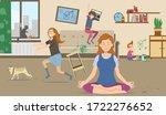 calm peaceful mother meditating ...   Shutterstock .eps vector #1722276652