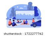outdoor cinema theater big... | Shutterstock .eps vector #1722277762