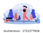 jogger wearing headphones... | Shutterstock .eps vector #1722277828