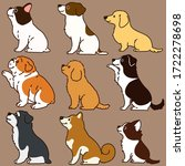 Set Of Outlined Cute Dogs...