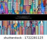 modern city life abstract... | Shutterstock . vector #1722281125