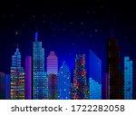 modern city night view ... | Shutterstock . vector #1722282058