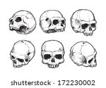 hand drawn skulls vector set.... | Shutterstock .eps vector #172230002