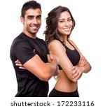 fitness instructors posing over ... | Shutterstock . vector #172233116