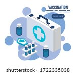 vaccination service with... | Shutterstock .eps vector #1722335038