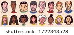 diverse faces of people.... | Shutterstock .eps vector #1722343528