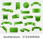 green ribbon and tags isolated...   Shutterstock . vector #1722349063
