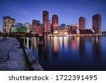 Boston Skyline At Dusk  Boston...