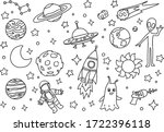 doodle cosmos illustration set  ... | Shutterstock .eps vector #1722396118
