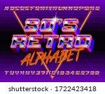 80s retro alphabet font. 3d... | Shutterstock .eps vector #1722423418