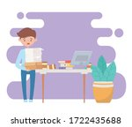 stress at work  frustrated... | Shutterstock .eps vector #1722435688