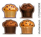 vector set of assorted muffins  ... | Shutterstock .eps vector #1722442858