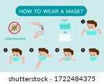 how to wear mask step by step... | Shutterstock .eps vector #1722484375