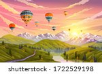 colorful hot air balloons... | Shutterstock .eps vector #1722529198