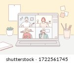 stay and work from home. video... | Shutterstock .eps vector #1722561745
