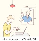 stay and work from home. video...   Shutterstock .eps vector #1722561748