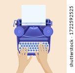 hands typing on retro... | Shutterstock .eps vector #1722592525