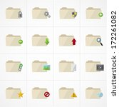 Folder Icons set - stock vector