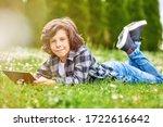 leisure time  child boy using... | Shutterstock . vector #1722616642