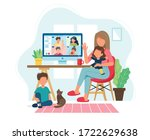 stay home concept. woman with...   Shutterstock .eps vector #1722629638