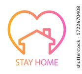 stay home symbol with heart ... | Shutterstock .eps vector #1722670408