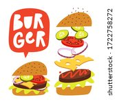 jumping burger with fresh... | Shutterstock .eps vector #1722758272