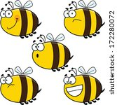 Assortment of funny cartoon vector bees.