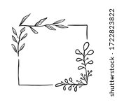 doodle black line leaves in... | Shutterstock .eps vector #1722823822