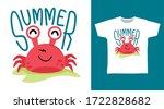 Cute Crab Summer Design Vector...