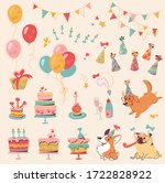 vector set of dog birthday... | Shutterstock .eps vector #1722828922
