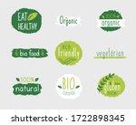 vector eco stickers  organic ... | Shutterstock .eps vector #1722898345