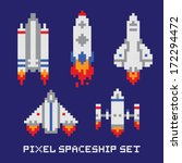 pixel art spaceship isolated... | Shutterstock .eps vector #172294472