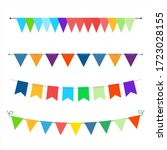 triangle colorful flat garlands ... | Shutterstock .eps vector #1723028155