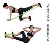 fit girl doing sport exercises...   Shutterstock .eps vector #1723033762