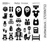 baby icon set in black  | Shutterstock .eps vector #172306712