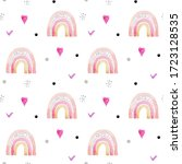 seamless pattern funny rainbows ... | Shutterstock . vector #1723128535