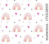 seamless pattern funny rainbows ...   Shutterstock . vector #1723128535