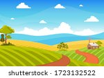 agriculture wheat field farm... | Shutterstock .eps vector #1723132522