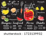smoothie. juice menu  hand... | Shutterstock .eps vector #1723139932