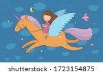 Cute Cartoon Girl Flies On A...