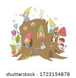 Cute Cartoon Gnomes In A Stump...