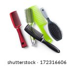 Combs And Hairbrushes Isolated...