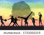 children in black silhouettes... | Shutterstock .eps vector #1723202215
